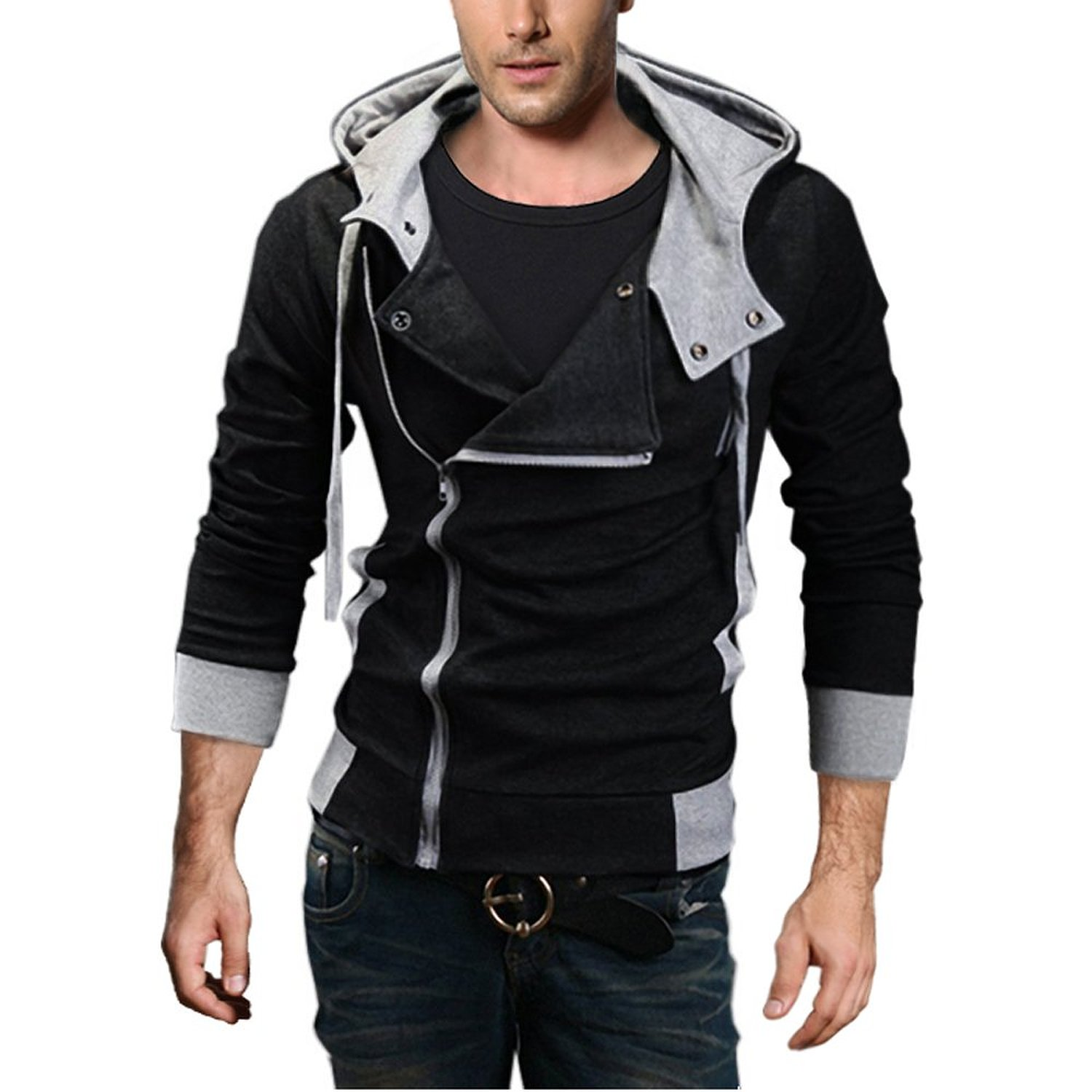 djt oblique zipper hoodie casual mens urban clothing. Black Bedroom Furniture Sets. Home Design Ideas