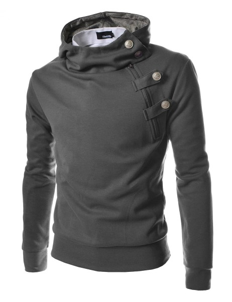 TheLees Men's Luxury Buckle Hooded Slim Sweatshirt