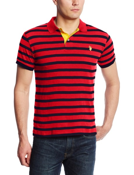 Slim Fit Cotton Slub Striped Polo Shirt