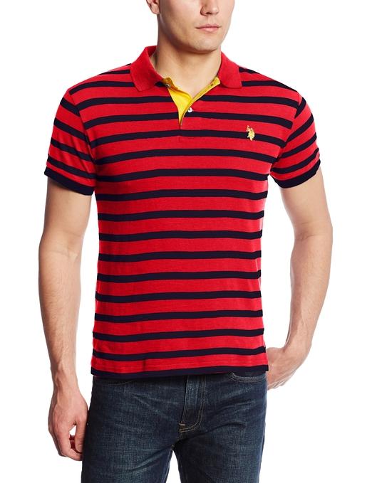 Slim Fit Cotton Slub Striped Polo Shirt