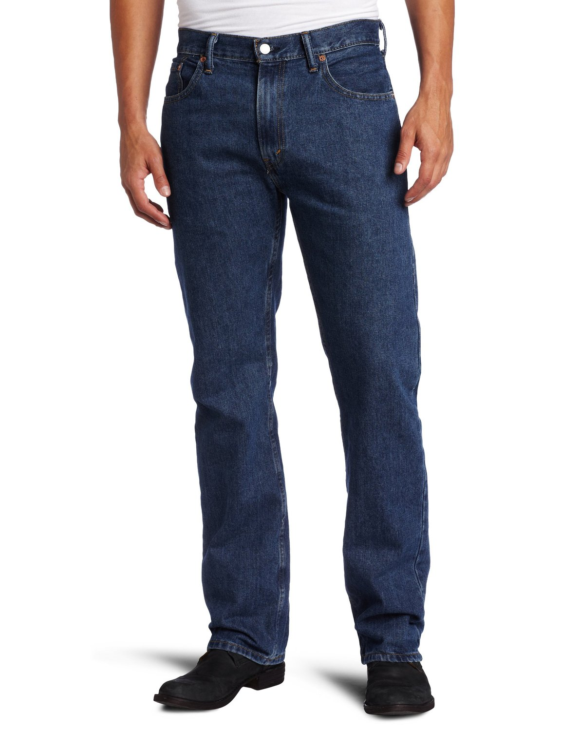 Our regular fit model features a slightly higher rise that sits up on the waist, and a traditional straight leg with a comfortable fit through the hip, thigh and knee. Our Industrial Blue wash is a 16 dip dye process that produces noticeably richer, darker denim creating a colorfast indigo that is 20% longer lasting.