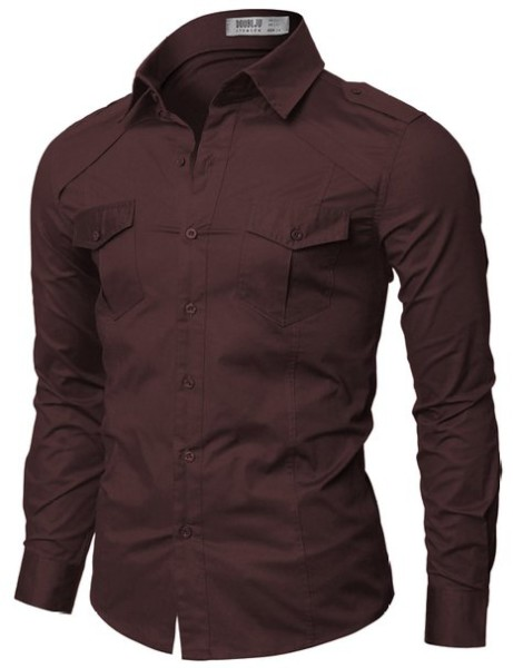 Doublju Mens Casual Pocket Detailed Shirts