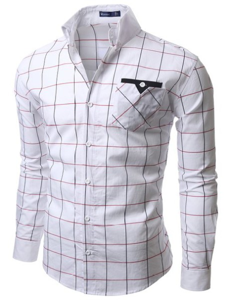 Doublju Mens Casual Plaid Shirts