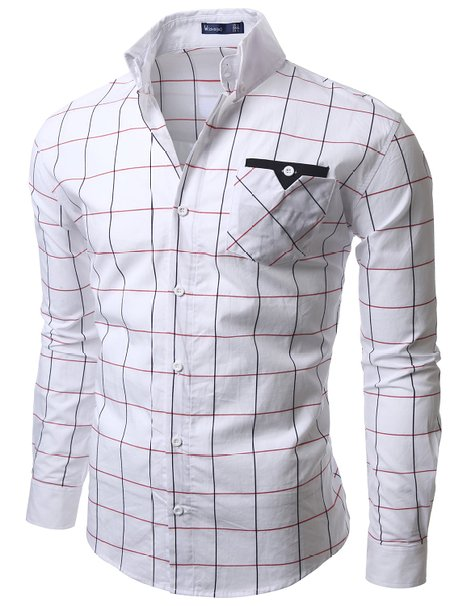 3f91b887f47c Doublju Mens Casual Plaid Shirts - Mens Urban Clothing