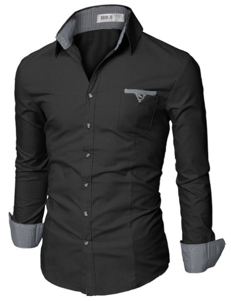 Doublju Mens Casual Shirt Contrast