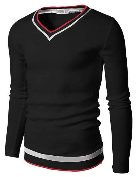 Doublju Mens V-Neck Sweater Pull-over Tipping