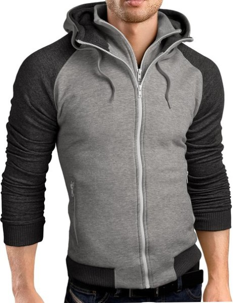Grin&Bear Slim Fit Hoodie double zip Sweatshirt Jacket
