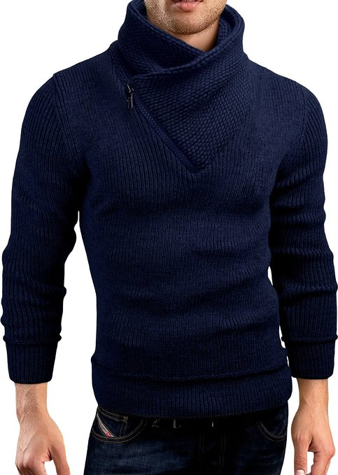 Grin&Bear Slim Fit half zip high collar knit jacket hoodie