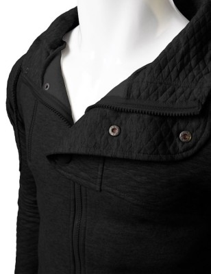 Doublju Plain black Hoodie Zip-Up Jacket with Quilting - Mens