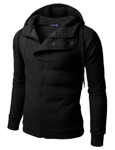 Doublju Plain black Hoodie Zip Up Jacket with Quilting