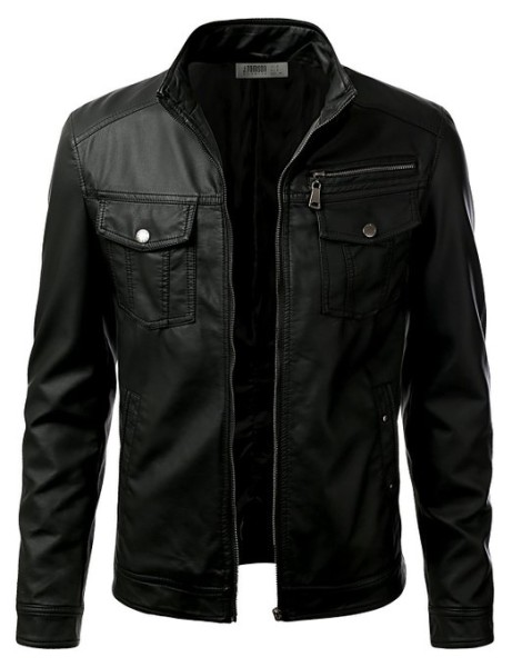 IDARBI Leather Look Motorcycle Bomber Urban Knight Jacket