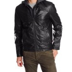 Levis Mens Faux-Leather Jacket with Hood