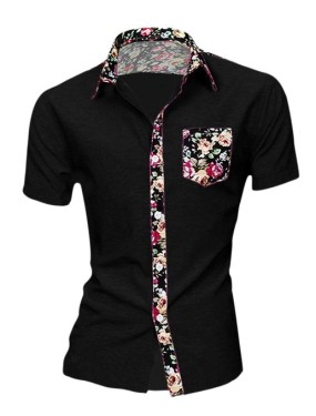 Men Floral Shirt Allegra K Short Sleeve