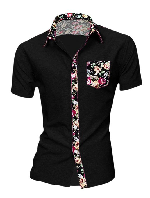 Men Floral Shirt Allegra K Short Sleeve - Mens Urban Clothing