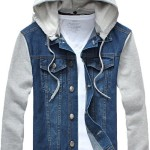 Mrignt Mens Denim Hooded Jacket