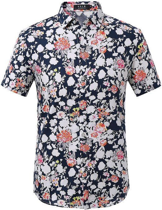 SSLR Mens Floral Print Shirt Short Sleeve