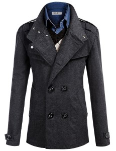 Mens Wool Slim Double Breasted Half Trench Coat