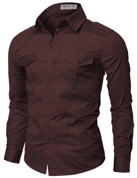 Doublju Mens Casual Pocket Detailed Shirts