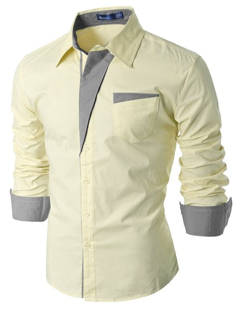 Doublju Mens Casual Stripe Patched Pocket