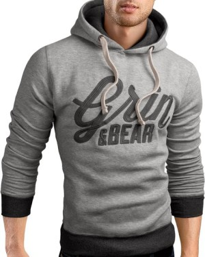 Grin&Bear Slim Fit Hoodie Jacket heavy duty embroidery Sweatshirt