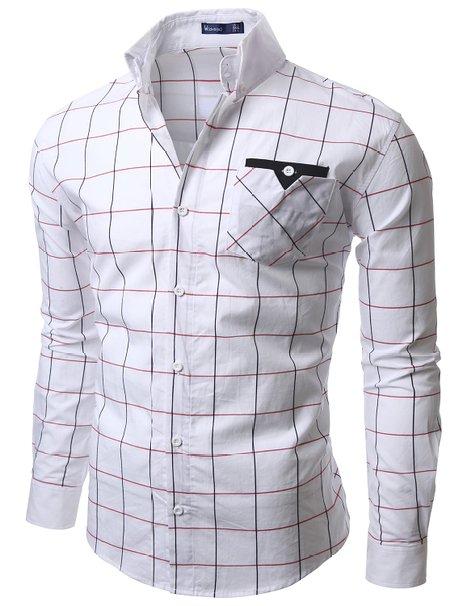 Doublju Mens Casual Plaid Shirts