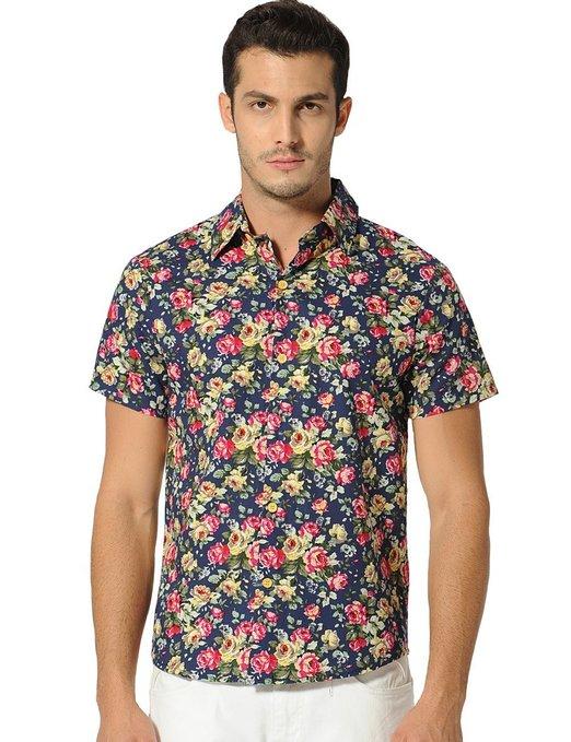 8f6fe1c12835 SSLR Flower Buttondown Short Sleeve - Mens Urban Clothing