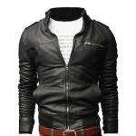 Vintage Collar Pu Leather Jacket