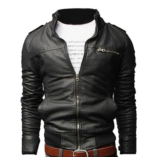 Vintage Collar Pu Leather Jacket
