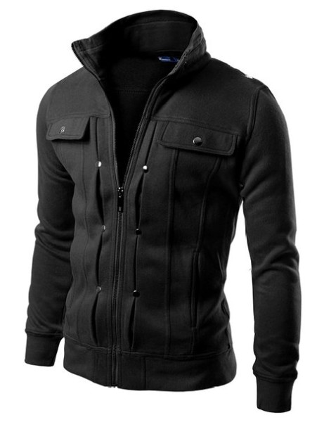 Doublju Mens Highneck Zip Up Jacket