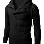 Doublju Plain black Hoodie Zip Up Jacket with Quilting