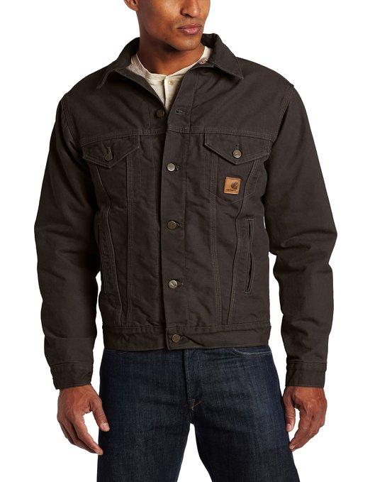 Mens Jeans Jacket Carhartt Lined Sandstone