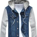 Mrignt Mens Denim Hooded Jacket