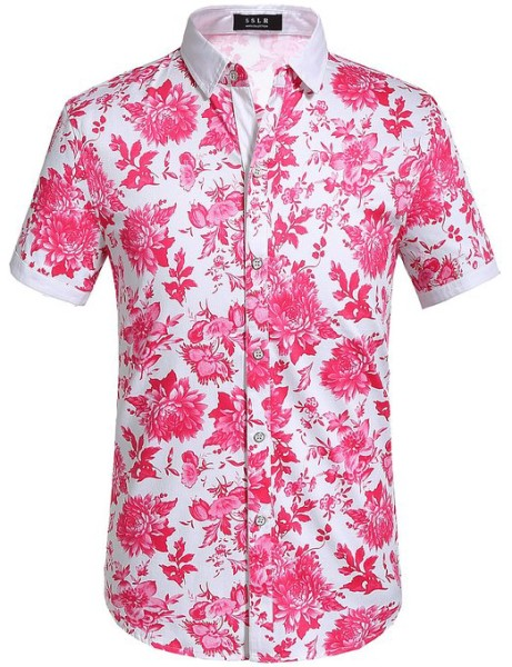 SSLR Mens Floral Shirt Buttondown Short Sleeve