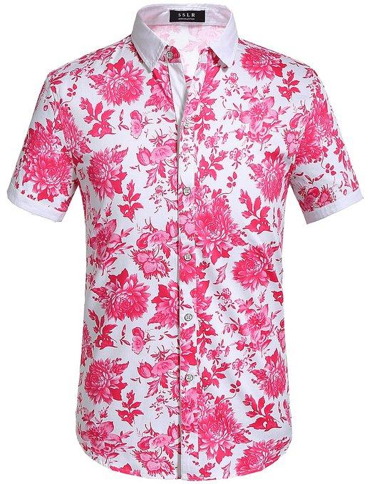 SSLR Mens Floral Shirt Buttondown Short Sleeve