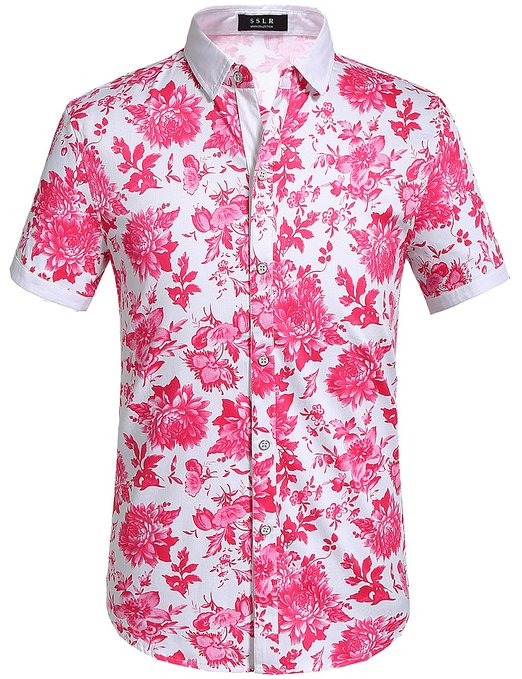 bbe392c379c0 SSLR Mens Floral Shirt Buttondown Short Sleeve - Mens Urban Clothing