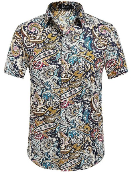 SSLR Summer Floral Shirts Men Short Sleeve